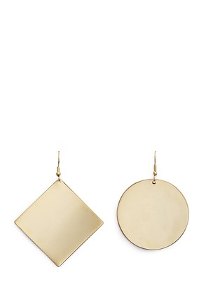 Kenneth Jay Lane - Square and circle plated earrings