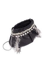 Zircon fringe star chain trim leather crossbody bag