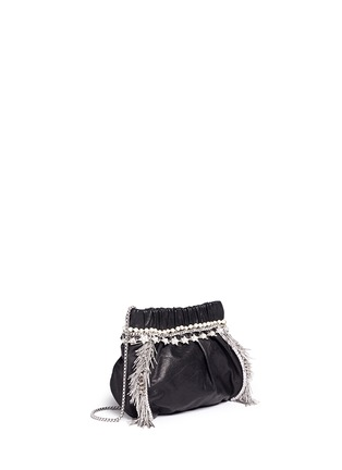 Front View - Click To Enlarge - Venna - Zircon fringe star chain trim leather crossbody bag