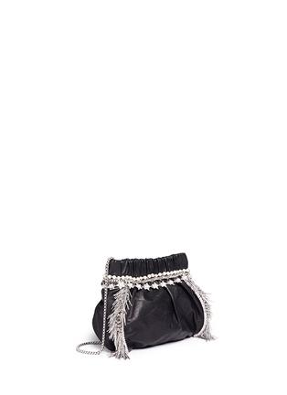 Venna-Zircon fringe star chain trim leather crossbody bag