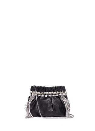 Main View - Click To Enlarge - Venna - Zircon fringe star chain trim leather crossbody bag
