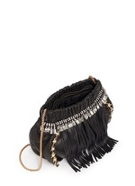 Pearl star chain fringed leather crossbody bag