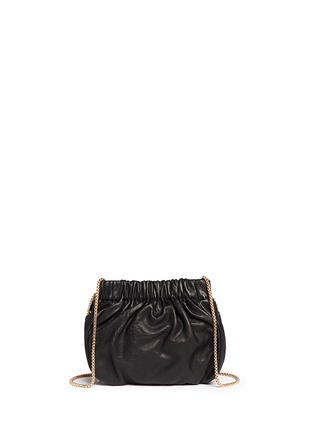 Back View - Click To Enlarge - Venna - Pearl star chain fringed leather crossbody bag