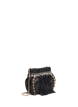 Front View - Click To Enlarge - Venna - Pearl star chain fringed leather crossbody bag