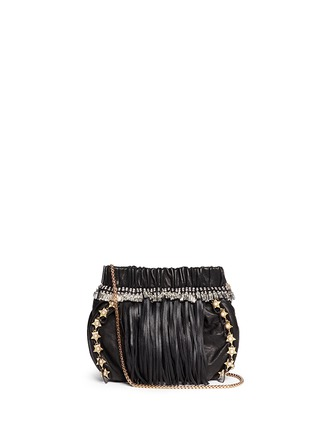 Main View - Click To Enlarge - Venna - Pearl star chain fringed leather crossbody bag