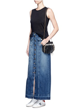 Figure View - Click To Enlarge - Venna - Pearl star chain fringed leather crossbody bag