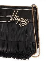'Happy' zircon trim leather fringe clutch