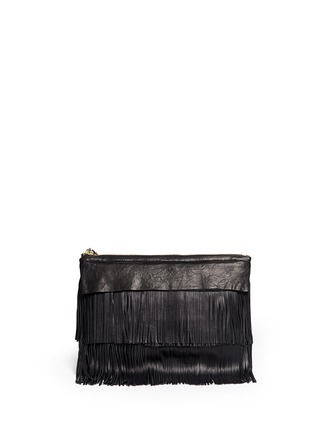 Back View - Click To Enlarge - Venna - 'Happy' zircon trim leather fringe clutch