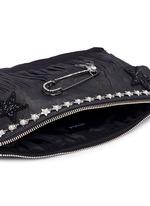 Pear star chain embellished leather fringe clutch