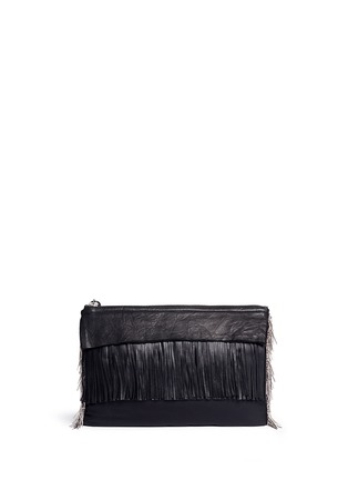 Back View - Click To Enlarge - Venna - Pear star chain embellished leather fringe clutch