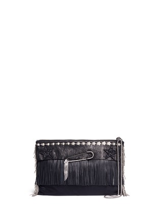 Main View - Click To Enlarge - Venna - Pear star chain embellished leather fringe clutch