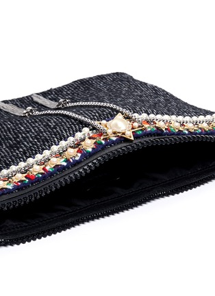Detail View - Click To Enlarge - Venna - Star chain fringe embellished bouclé clutch