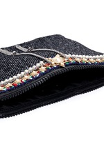 Star chain fringe embellished bouclé clutch