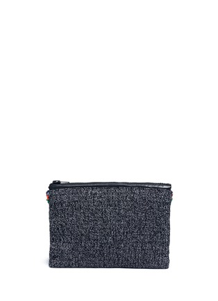 Back View - Click To Enlarge - Venna - Star chain fringe embellished bouclé clutch