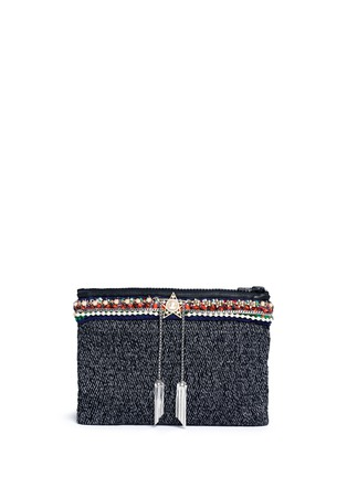 Main View - Click To Enlarge - Venna - Star chain fringe embellished bouclé clutch