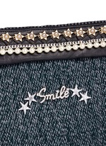 'Smile' pearl star chain embellished bouclé clutch