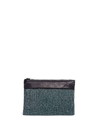 Back View - Click To Enlarge - Venna - 'Smile' pearl star chain embellished bouclé clutch