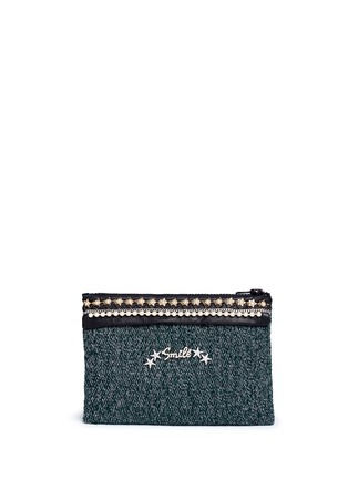 Main View - Click To Enlarge - Venna - 'Smile' pearl star chain embellished bouclé clutch