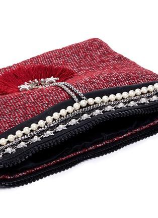 Venna-'Fan' pearl star chain embellished bouclé clutch