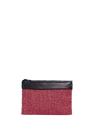 Back View - Click To Enlarge - Venna - 'Fan' pearl star chain embellished bouclé clutch