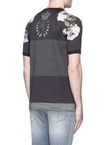 Floral print colourblock stripe T-shirt