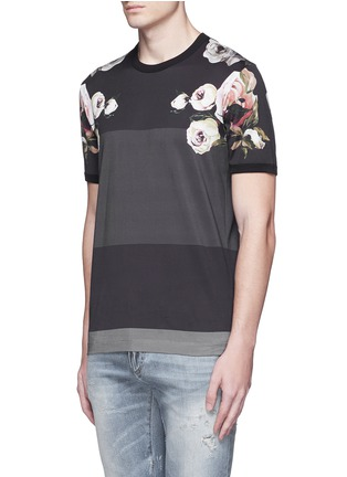 Front View - Click To Enlarge - Dolce & Gabbana - Floral print colourblock stripe T-shirt
