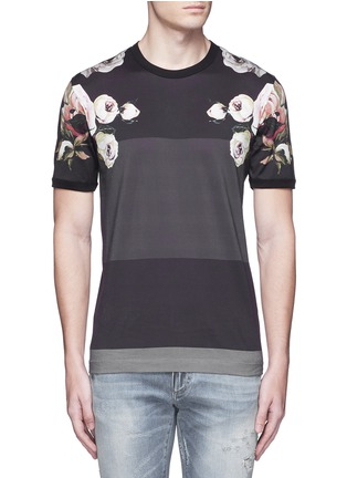 Main View - Click To Enlarge - Dolce & Gabbana - Floral print colourblock stripe T-shirt