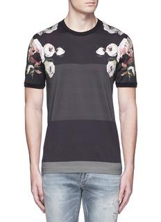 Dolce & GabbanaFloral print colourblock stripe T-shirt