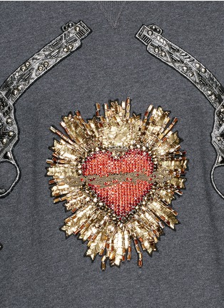 Detail View - Click To Enlarge - Dolce & Gabbana - Sacred Heart and Gun embroidery hoodie
