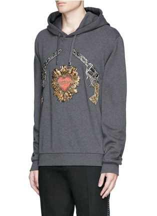 Front View - Click To Enlarge - Dolce & Gabbana - Sacred Heart and Gun embroidery hoodie