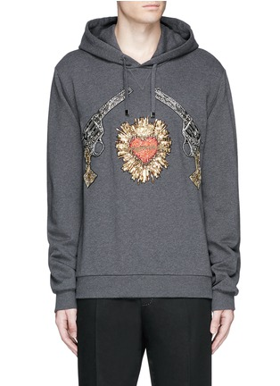 Main View - Click To Enlarge - Dolce & Gabbana - Sacred Heart and Gun embroidery hoodie