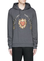 Sacred Heart and Gun embroidery hoodie