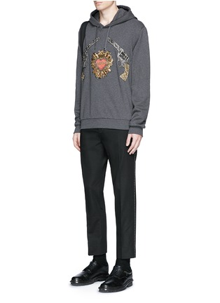 Figure View - Click To Enlarge - Dolce & Gabbana - Sacred Heart and Gun embroidery hoodie