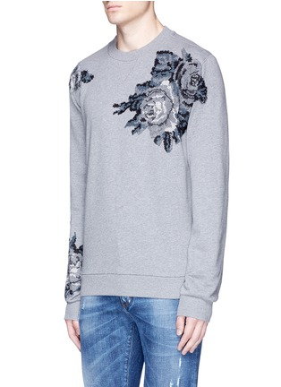 Front View - Click To Enlarge - Dolce & Gabbana - Floral embroidery cotton sweatshirt