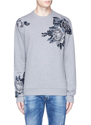 Main View - Click To Enlarge - Dolce & Gabbana - Floral embroidery cotton sweatshirt