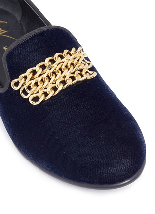 GIUSEPPE ZANOTTI DESIGN-Kevin 15金色链条装饰天鹅绒便鞋