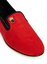 'Dalila' crystal pavé owl charm suede loafers