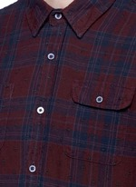 Embroidered check plaid cotton shirt