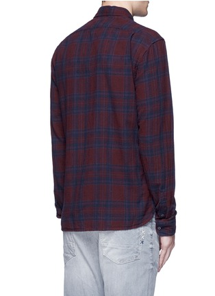 Back View - Click To Enlarge - Scotch & Soda - Embroidered check plaid cotton shirt