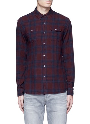 Main View - Click To Enlarge - Scotch & Soda - Embroidered check plaid cotton shirt