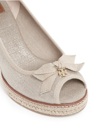 Detail View - Click To Enlarge - Tory Burch - 'Jackie' metallic linen wedge espadrille pumps