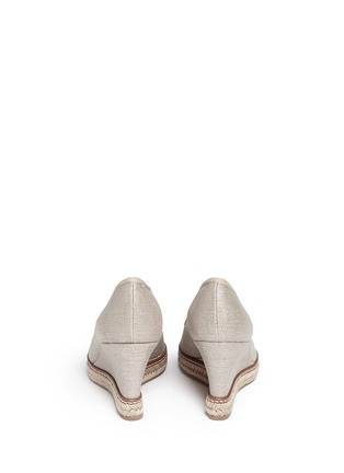 Back View - Click To Enlarge - Tory Burch - 'Jackie' metallic linen wedge espadrille pumps