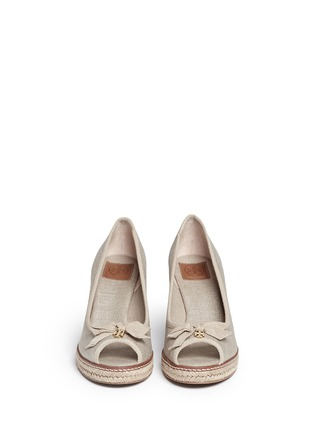 Front View - Click To Enlarge - Tory Burch - 'Jackie' metallic linen wedge espadrille pumps