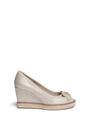 Main View - Click To Enlarge - Tory Burch - 'Jackie' metallic linen wedge espadrille pumps