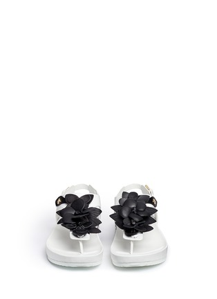 Front View - Click To Enlarge - Tory Burch - 'Blossom' floral appliqué leather thong sandals