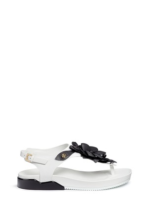 Main View - Click To Enlarge - Tory Burch - 'Blossom' floral appliqué leather thong sandals