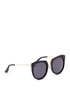 Stephane + Christian'Bunker' wire rim angular round acetate sunglasses