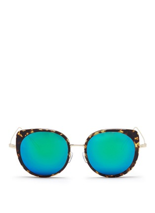 Main View - Click To Enlarge - Stephane + Christian - 'Cindy' wire rim tortoiseshell acetate mirror sunglasses