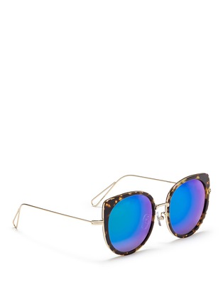 Figure View - Click To Enlarge - Stephane + Christian - 'Cindy' wire rim tortoiseshell acetate mirror sunglasses