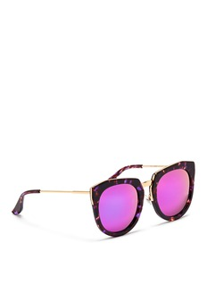 STEPHANE + CHRISTIAN'Bunker' tortoiseshell acetate oversize angular mirror sunglasses